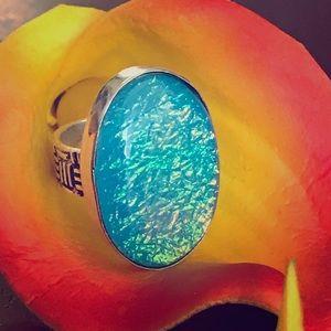 Australian Triplet Fire Opal Sterling Silver Ring